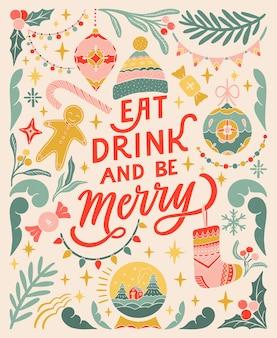 Comer, beber e ser feliz cartão vintage linocut banner tipográfico elementos florais coloridos