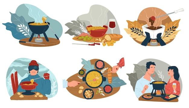 Comer em restaurantes, sopa quente em tigela servida com pão fresco. homem na estação de esqui se aquecendo com prato caseiro. casal em encontro, menu para vegetarianos, veganos, vetor em estilo simples