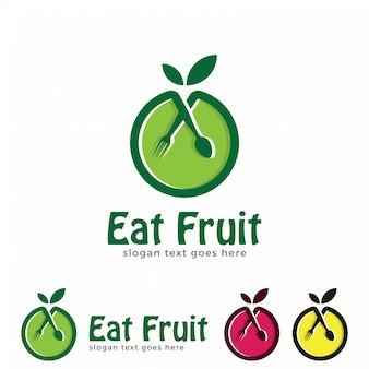 Comer, frutas, logotipo, desenho