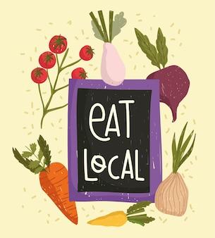Comer vegetais locais cenoura orgânica cebola rabanete e tomate ilustração de alimentos frescos