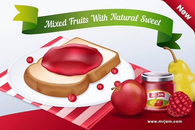 Comercial de alimentos com frutas e torradas