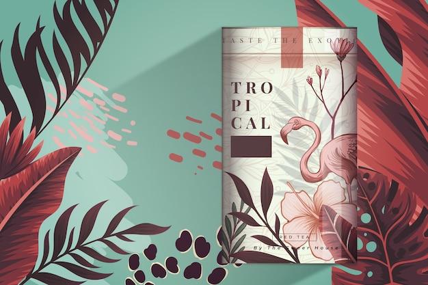 Comercial de chá com decoração flamingo e folhas