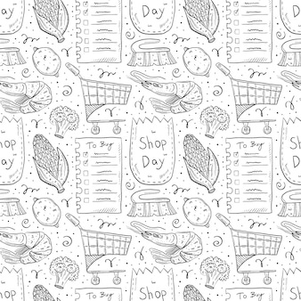 Comercial mão desenhada doodle padrão sem emenda. isolado no fundo branco lista de verificação, milho, pacote ecológico, saco de papel, carrinho, brócolis, limão, pincel, camarão.