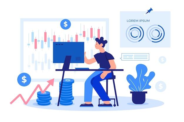 Comerciante de ilustração design plano trabalhando