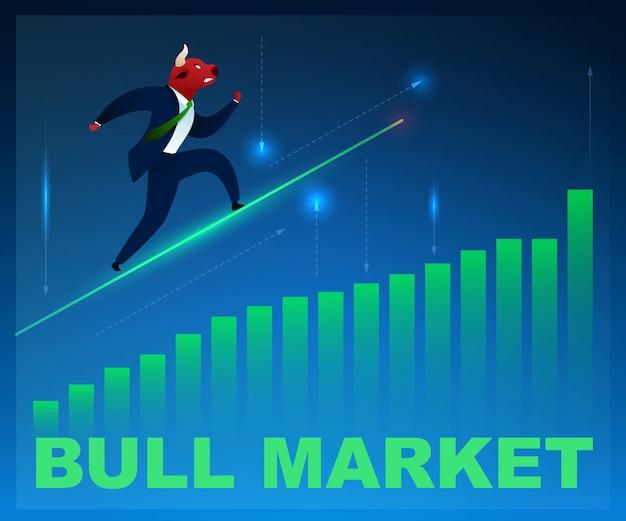 Comerciante de personagem bull market on graphic diagram up