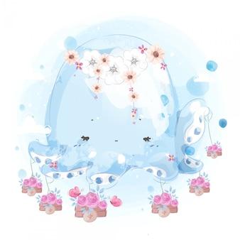 Comerciante de polvo com seu lindo buquê de flores