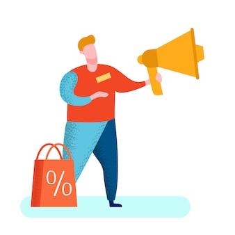 Comerciante de pr com ilustração de megafone