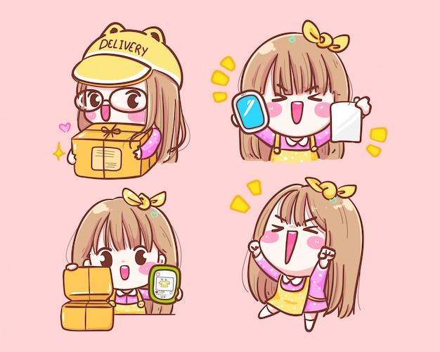Comerciante feliz da menina bonito com entrega móvel da caixa logotipo do ícone das compras online ilustração de mão desenhada