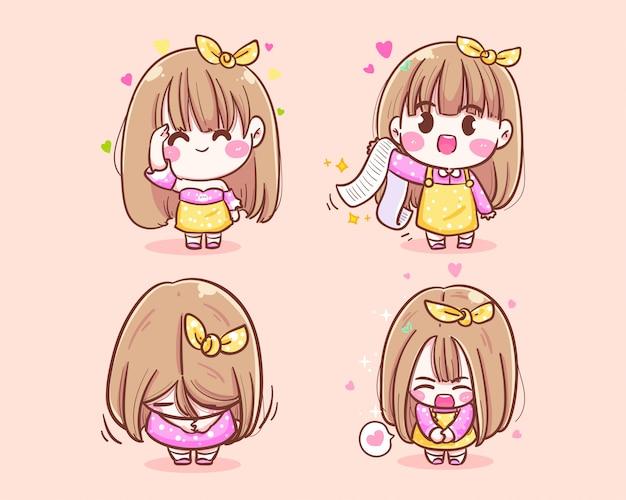Comerciante feliz da menina bonito sorrindo obrigado ícone logotipo mão ilustrações desenhadas.