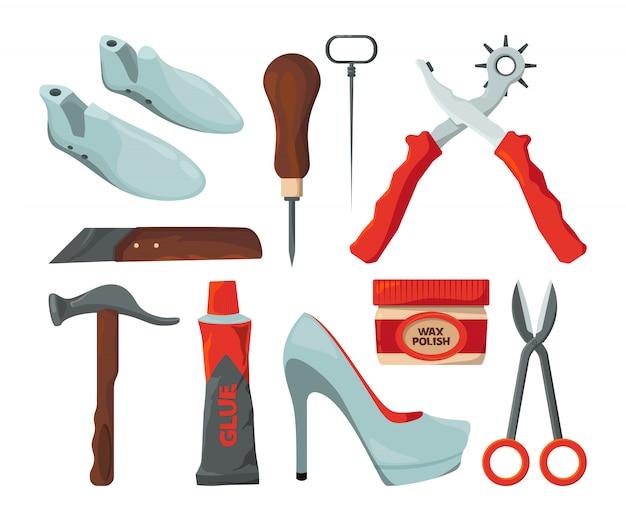 Comerciante na oficina de reparação de sapatos. fotos de vetor isolar