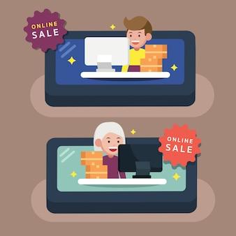 Comerciante on-line no celular com mercadorias