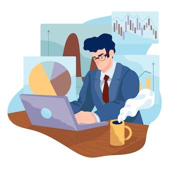 Comerciante, trabalhando, conceito