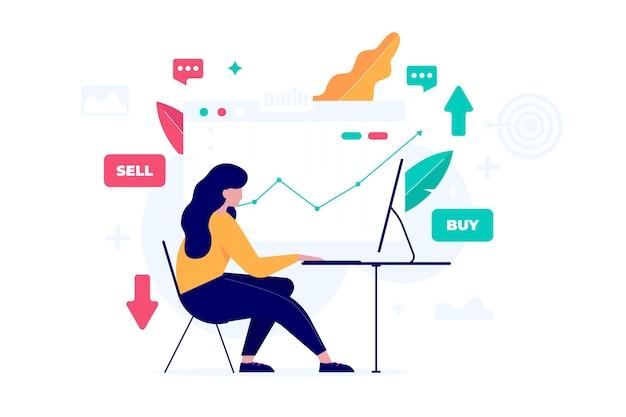Comerciante, trabalhando, ilustração, conceito