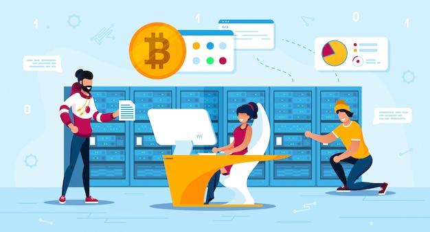 Comerciantes de bitcoin ou mineiros team flat concept