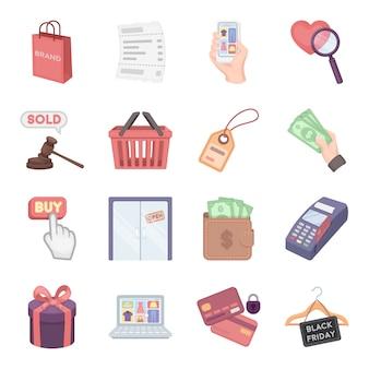 Comércio dos desenhos animados icon set vector. ilustração em vetor de grooming comércio.