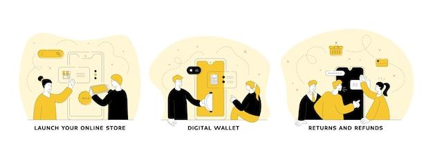 Comércio e comércio em conjunto de ilustração linear plana de internet. lance sua loja online, carteira digital, devoluções e reembolsos. compras online. personagens de desenhos animados de pessoas