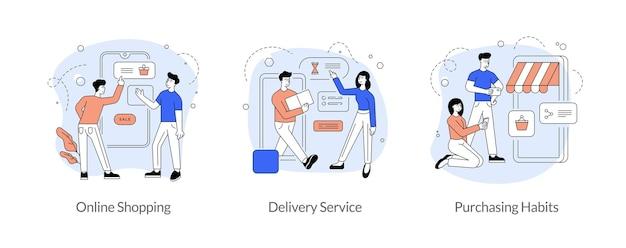 Comércio e comércio em conjunto de ilustração vetorial linear plana de internet. compras online, serviço de entrega, hábitos de compra. marketing de mídia social. aplicativo móvel. personagens de desenhos animados masculinos e femininos