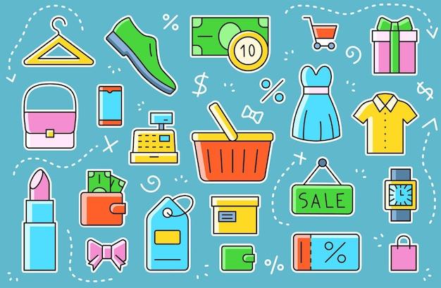 Comércio eletrônico, compras - conjunto de símbolos. adesivos coloridos lisos simples. ilustração vetorial.