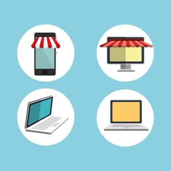Comércio eletrônico conjunto de ícones