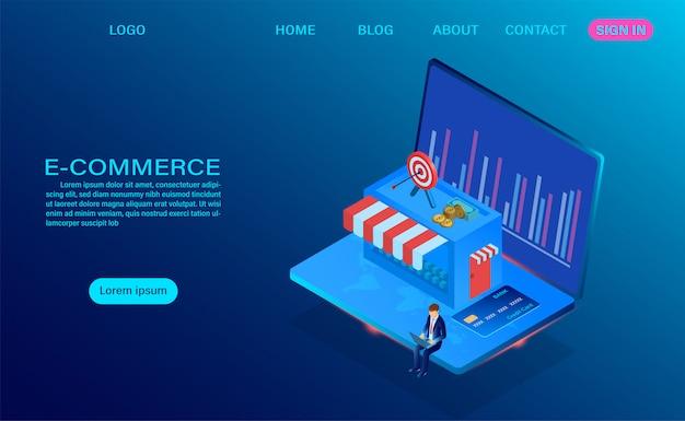 Comércio eletrônico de compras on-line com o computador portátil. modelo isométrico de vetor 3d