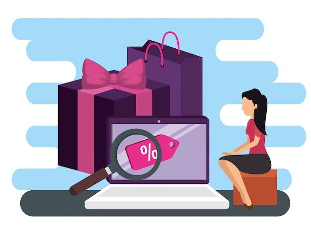 Comércio eletrônico de mulher e laptop com mercado on-line de pacotes