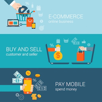 Comércio eletrônico de pagamento on-line móvel comprar e vender conjunto de conceitos plana.