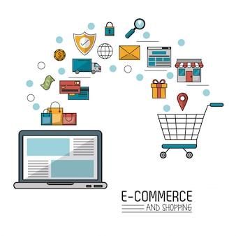 Comércio eletrônico e compras com laptop e processo adicionado ao carrinho de compras