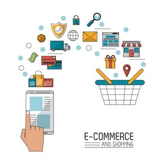 Comércio eletrônico e compras com smartphone e processo adicionado ao carrinho de compras