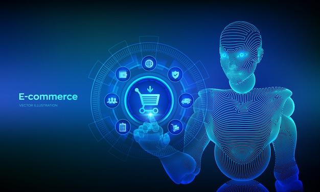 Comércio eletrônico. internet compras conceito ov tela virtual. adicionar ao carrinho compras on-line. mão robótica tocando interface digital.