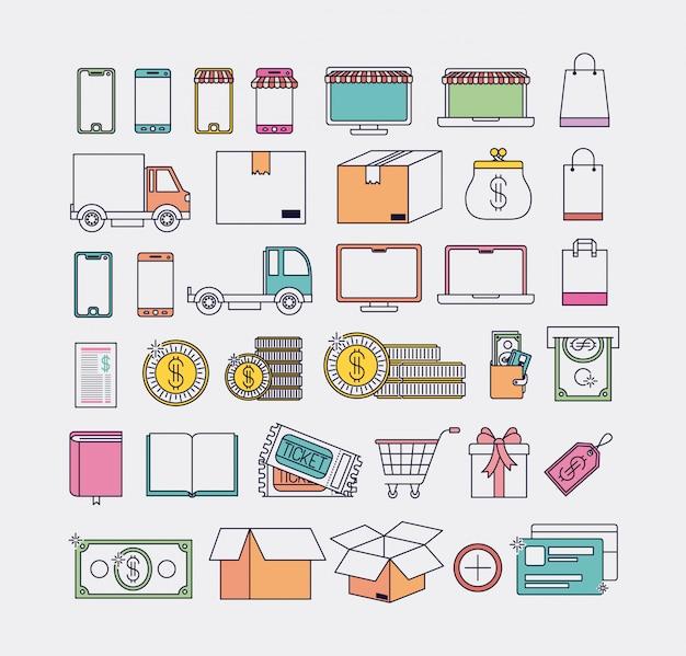 Comércio eletrônico, jogo, ícones, vetorial, ilustração, desenho