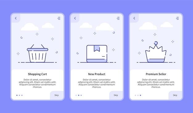 Comércio onboarding shopping cart novo vendedor premium de produto para modelo de banner de aplicativo móvel