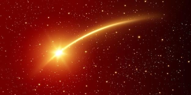 Cometa de luz dourada com linha de luz mágica
