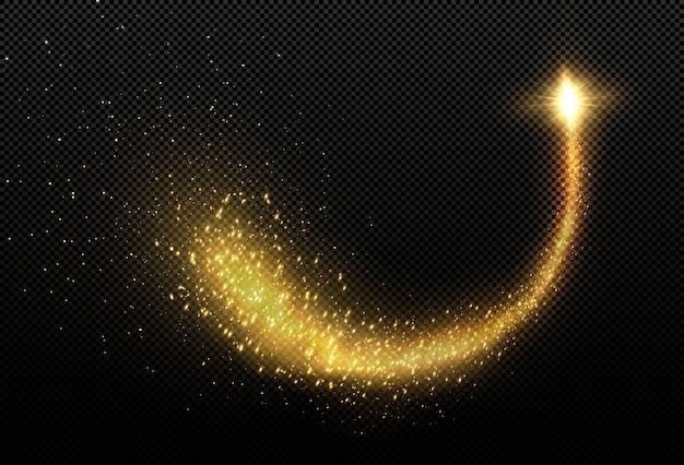 Cometa de luz dourada. linha de luz mágica.