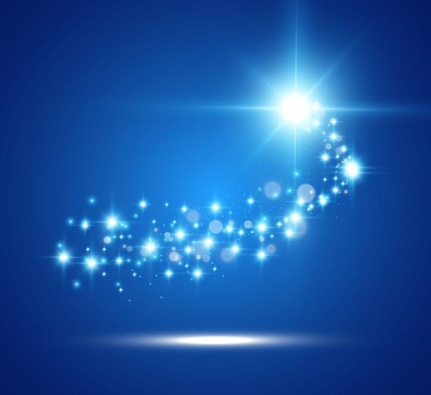 Cometa em um fundo transparente. estrela brilhante. belo caminho estrelado. estrela cadente. cauda de cometa.
