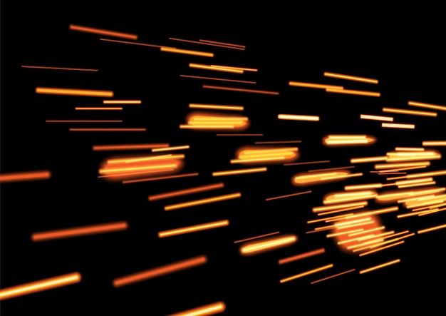 Cometa voador dourado brilhante ou rastreamento de nave espacial em fundo preto
