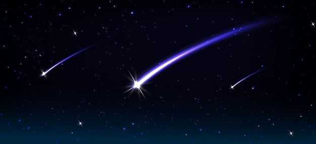 Cometas, asteróides e meteoros caindo com um rastro de chama azul no cosmos