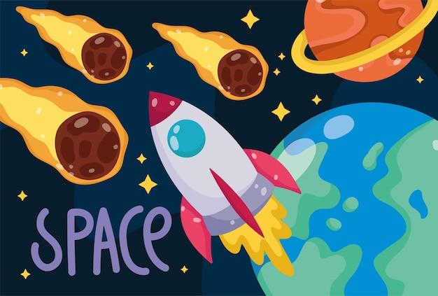 Cometas espaciais no solo e astronomia de galáxia de foguete em ilustração estilo cartoon