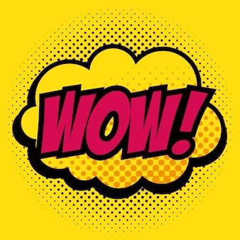 Comic como wow pop art assinar sobre ilustração vetorial de fundo amarelo