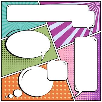 Comic pop art estilo em branco discurso bolhas.