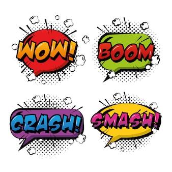 Comic pop art speech bubbles efeitos coloridos retro