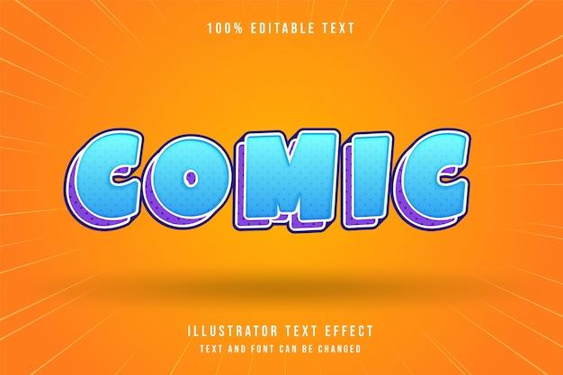 Comic3d editável efeito de texto azul gradação roxo moderno estilo cômico