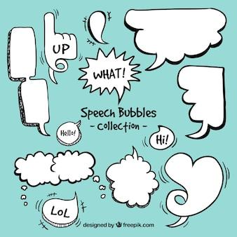 Cómica do discurso agradável bolhas set