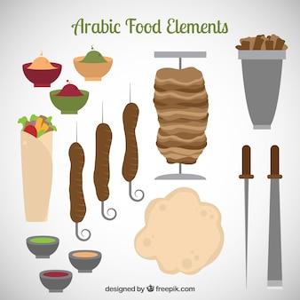 Comida árabe e utensílios de cozinha