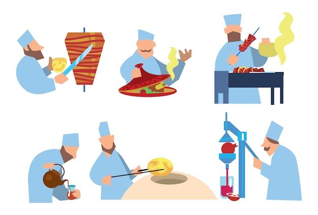 Comida árabe shawarma, shish kebab, pastilhas