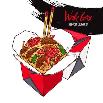 Comida asiática. caixa wok com carne e legumes. ilustração desenhada à mão