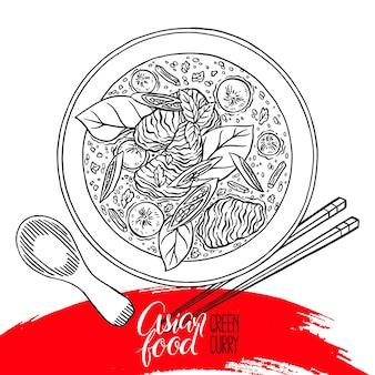 Comida asiática. curry verde. apetitosa sopa tradicional tailandesa com frango. ilustração desenhada à mão