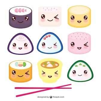 Comida asiática desenhos animados do kawaii