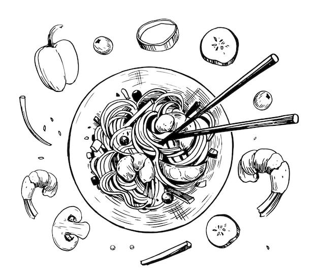 Comida asiática fast-food wok chiness noodless mão desenhada ilustração vetorial