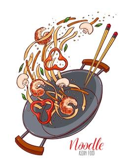 Comida asiática. panela wok de macarrão chinês, camarão, pimenta e cogumelos. ilustração desenhada à mão