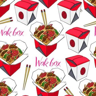 Comida asiática. plano de fundo sem emenda de caixas wok com carne e tomate. ilustração desenhada à mão